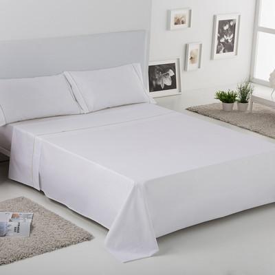 Cama 150 cm J. Sábanas 4 piezas Liso Bies - blanco