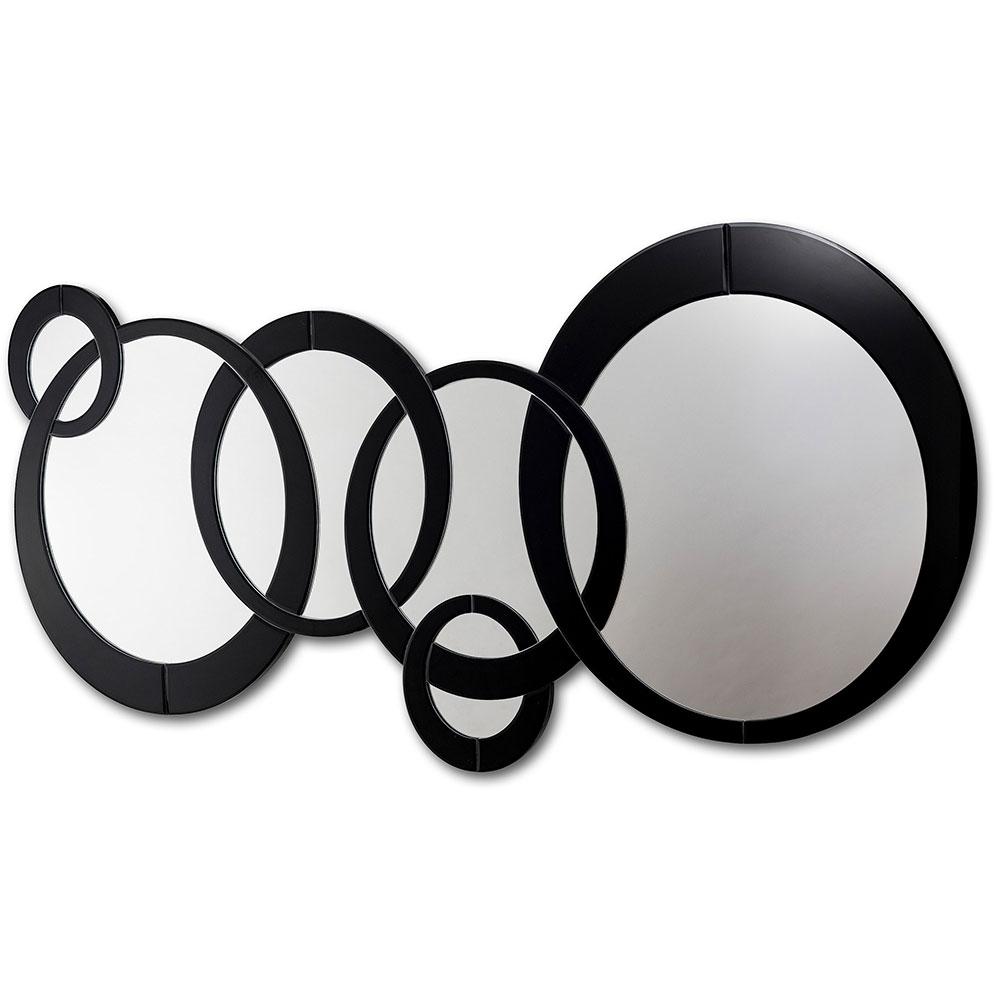 Espejo formas circulares con marco en cristal negro 140x70cm ...