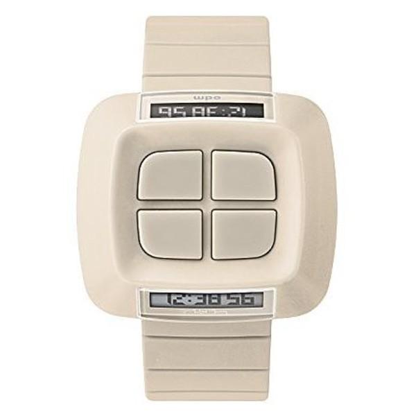 Reloj digital plástico unisex - crema