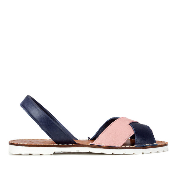 Abarca piel mujer - rosa/azul marino