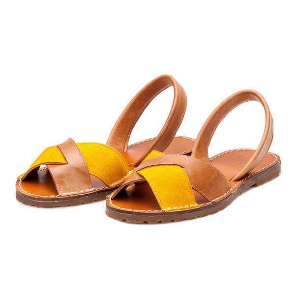 Abarca piel mujer - camel/ocre