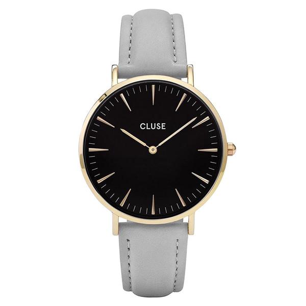 Reloj analógico mujer cuero - gris claro