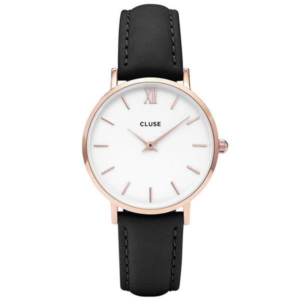 Reloj mujer analógico piel/acero - negro/blanco