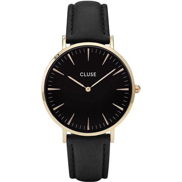 Reloj analógico unisex cuero - negro