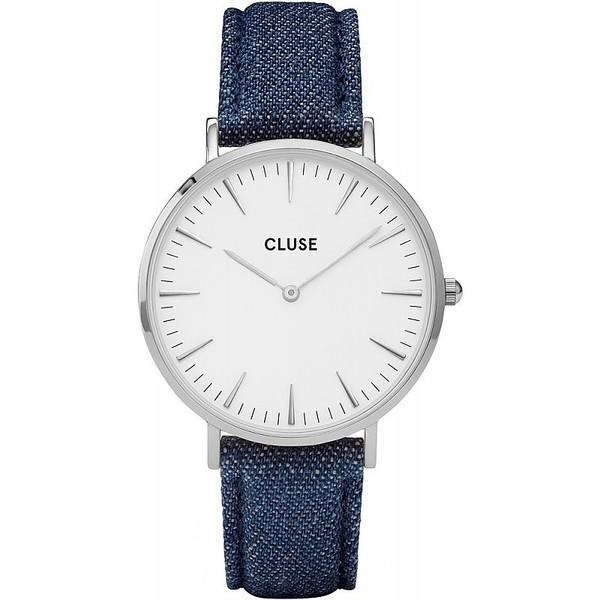 Reloj mujer analógico piel/acero - azul/plateado