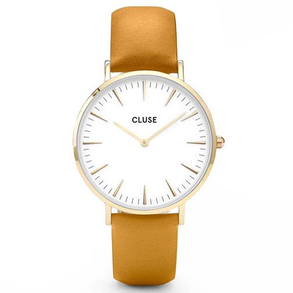 Reloj mujer analógico piel/acero - dorado/mostaza