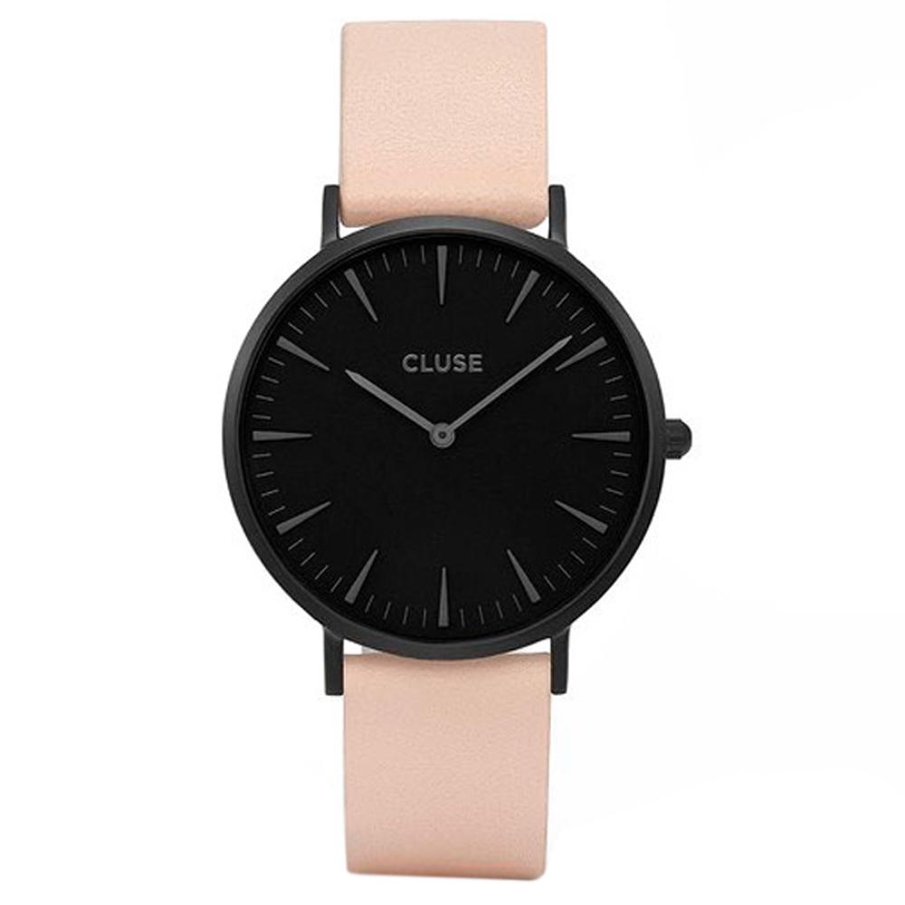 Reloj mujer analógico piel/acero - rosa/negro