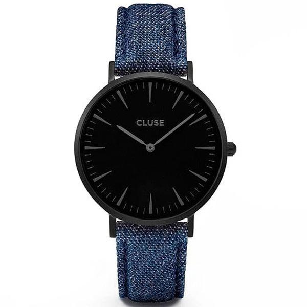 Reloj mujer analógico acero/piel - negro/azul