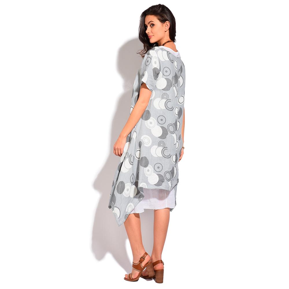 Vestido m/corta Anabelle lino - gris