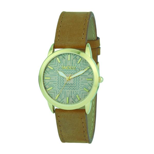 Reloj analógico mujer piel - camel/dorado