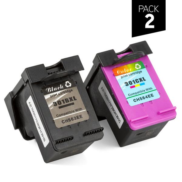 Pack 2 cartuchos genéricos zp-hp 301xl bk + 301xl 3c