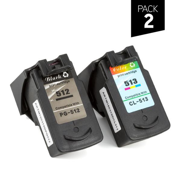 Pack 2 cartuchos genéricos zp-canon pg 510, pg-512 (1) negro + cl-511, cl-513 (1) color