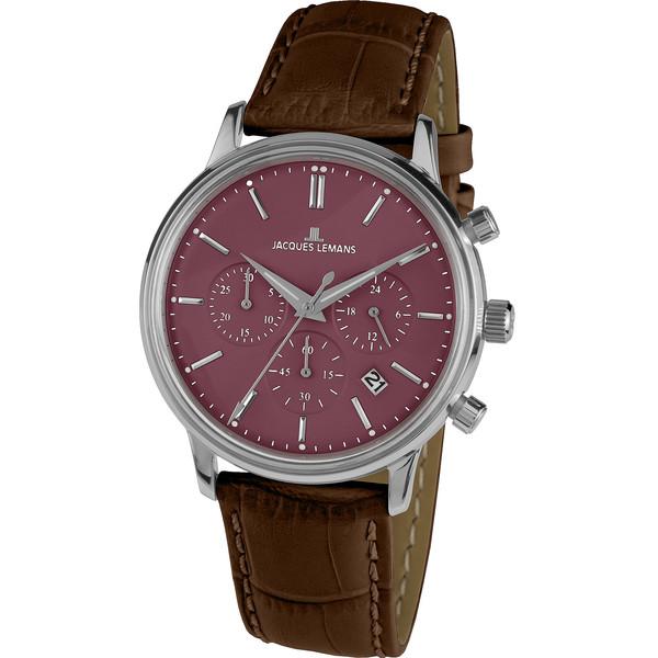Reloj analógico hombre piel - plateado/morado/marrón