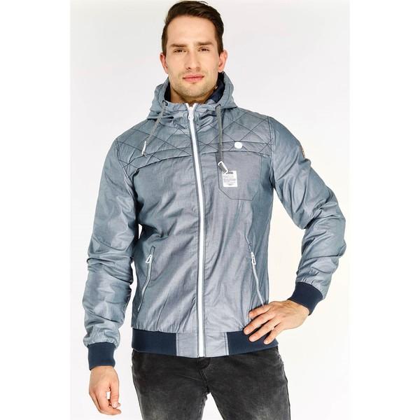 Abrigo azul con cremallera y capucha