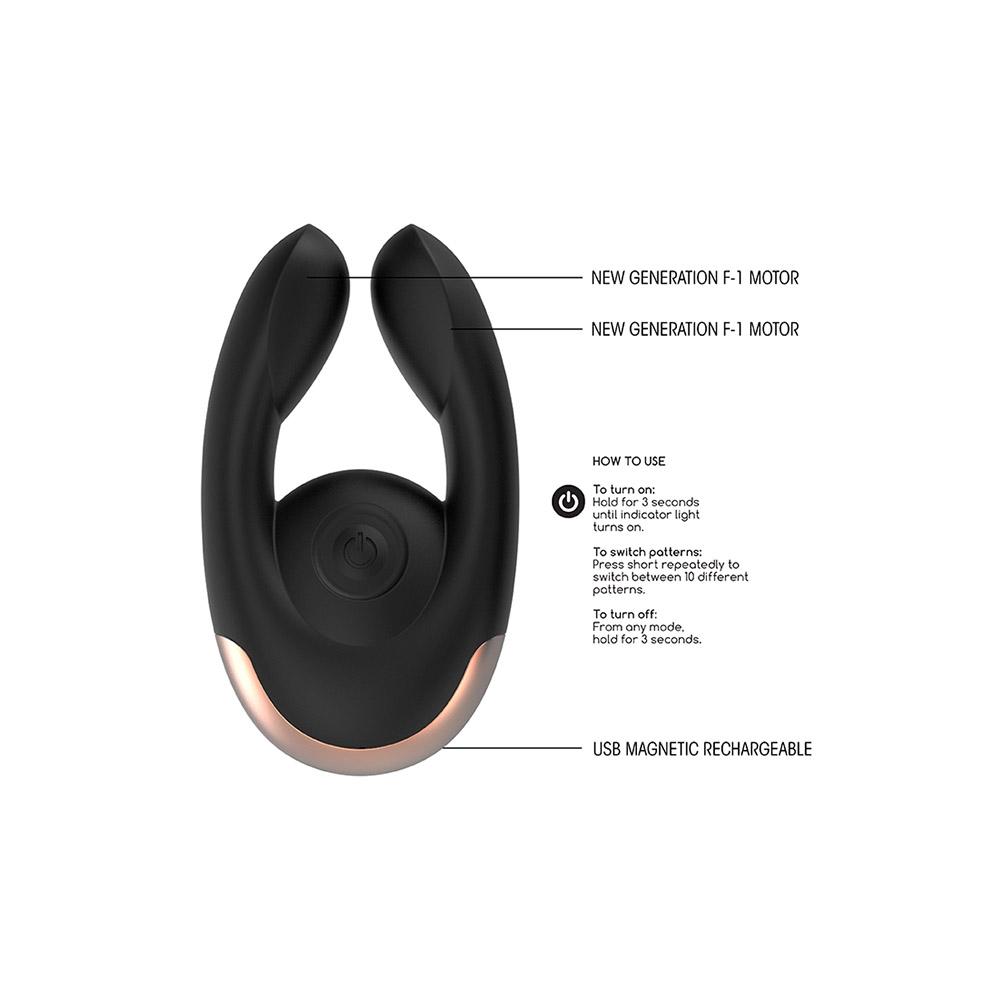 Dildo dual motor clitoral stimulator - negro