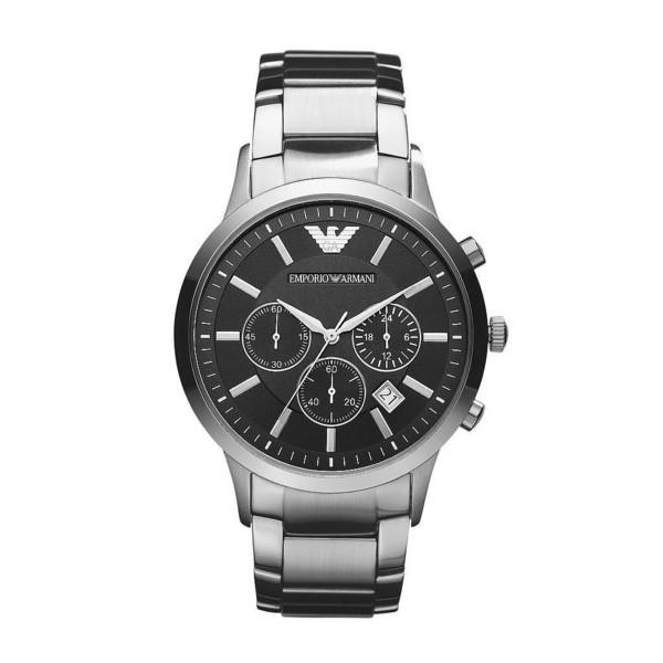 Reloj analógico piel hombre - plateado