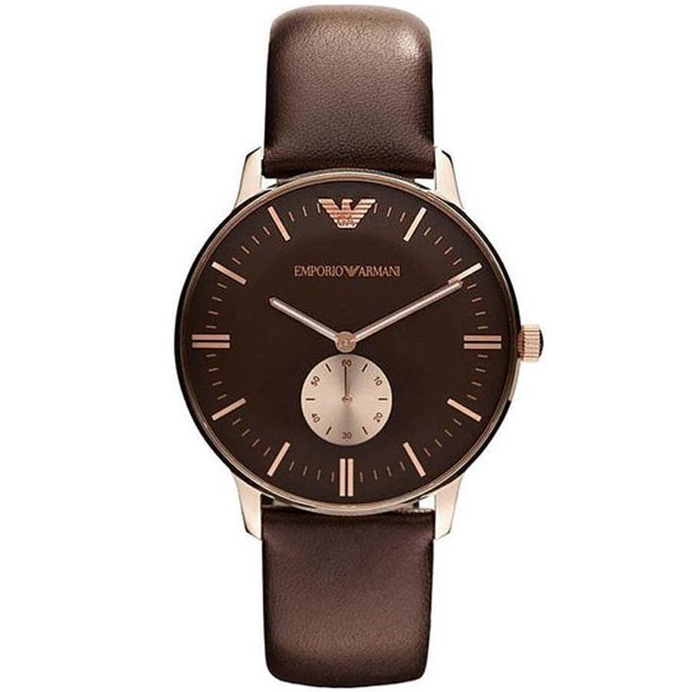 Reloj análogico hombre piel - marron