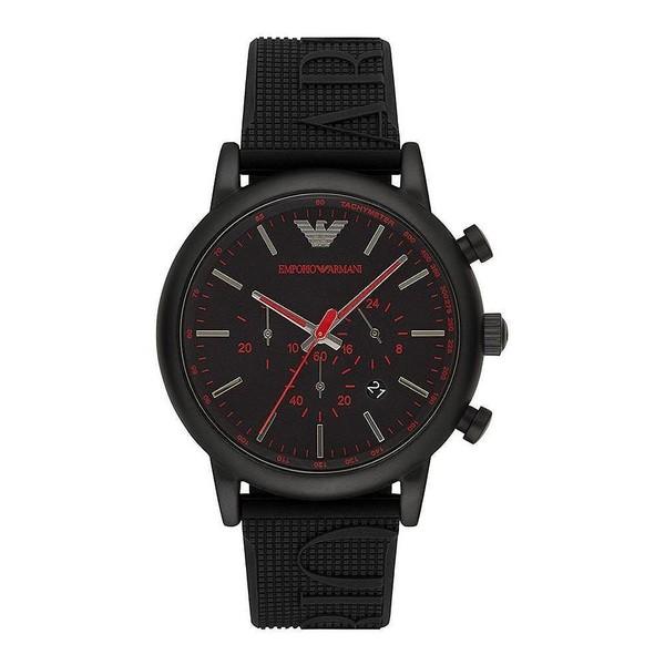 Reloj análogico hombre caucho - negro