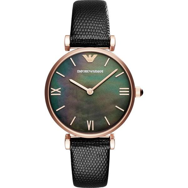 Reloj análogico mujer piel - negro