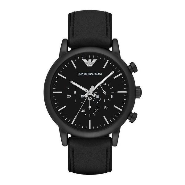 Reloj análogico hombre piel - negro