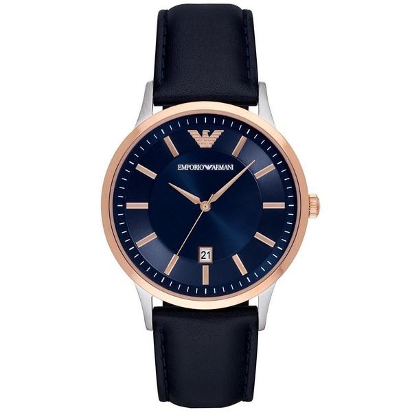 Reloj análogico hombre piel - azul