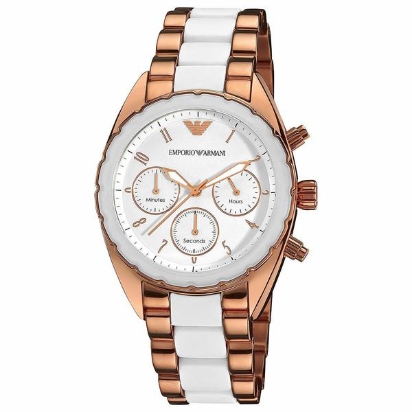 Reloj cronografo mujer acero - blanco