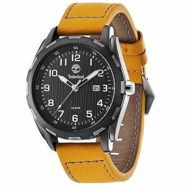 Reloj analógico piel hombre - amarillo