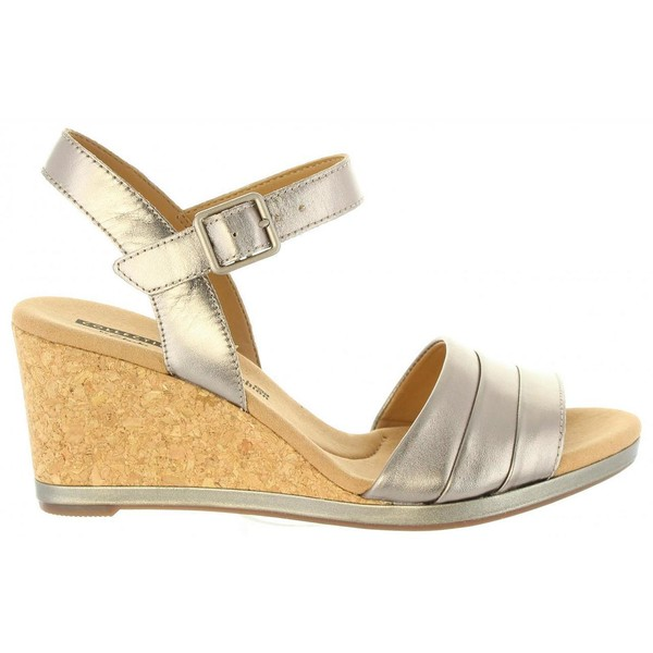Sandalias cuña mujer piel - plata