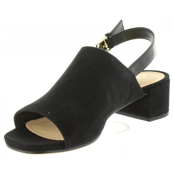 4cm Sandalia tacón piel mujer - negro