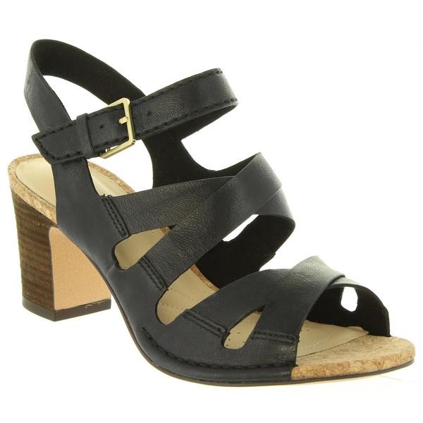 7cm Sandalia tacón piel mujer - negro