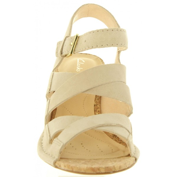 7cm Sandalia tacón piel mujer - arena