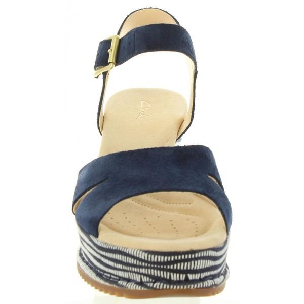 Sandalias cuña mujer piel - marino