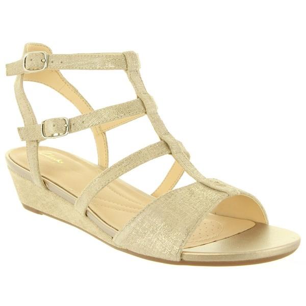 4cm Sandalia cuña piel mujer - dorado
