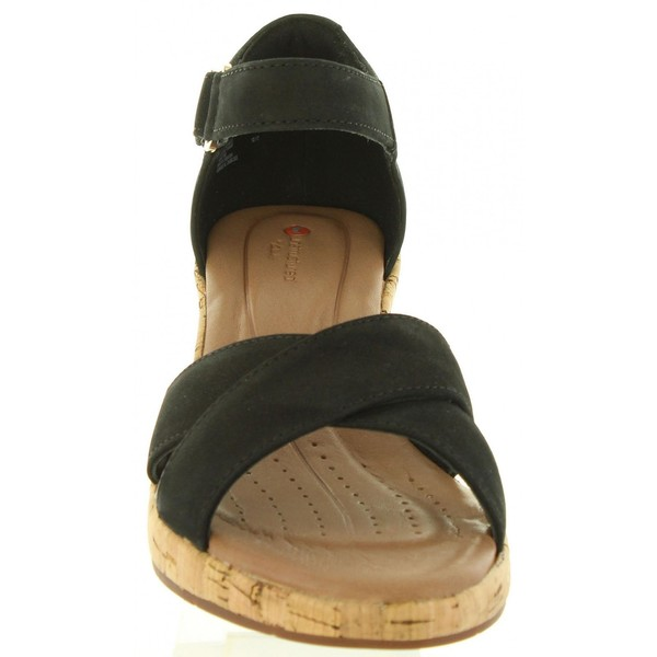 6cm Sandalia cuña piel mujer - negro
