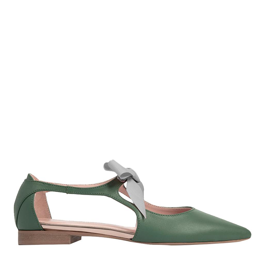 Bailarina piel mujer - verde