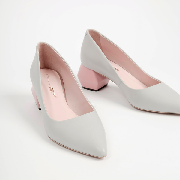 6cm Zapatos tacón mujer Watch me - gris/rosa