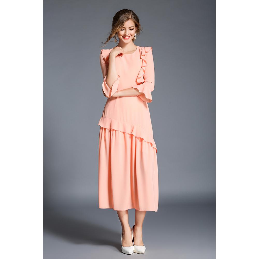 Vestido mujer slim fit -  melocotón