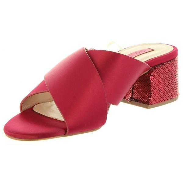 5cm Sandalia tacón mujer - rojo