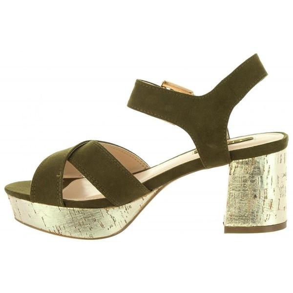 Sandalias tacón mujer - caqui