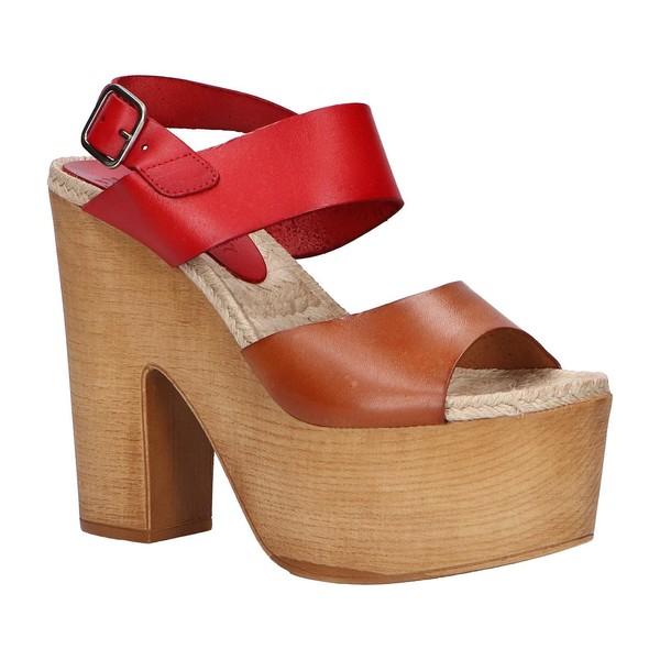 13cm Sandalia tacón piel mujer - rojo