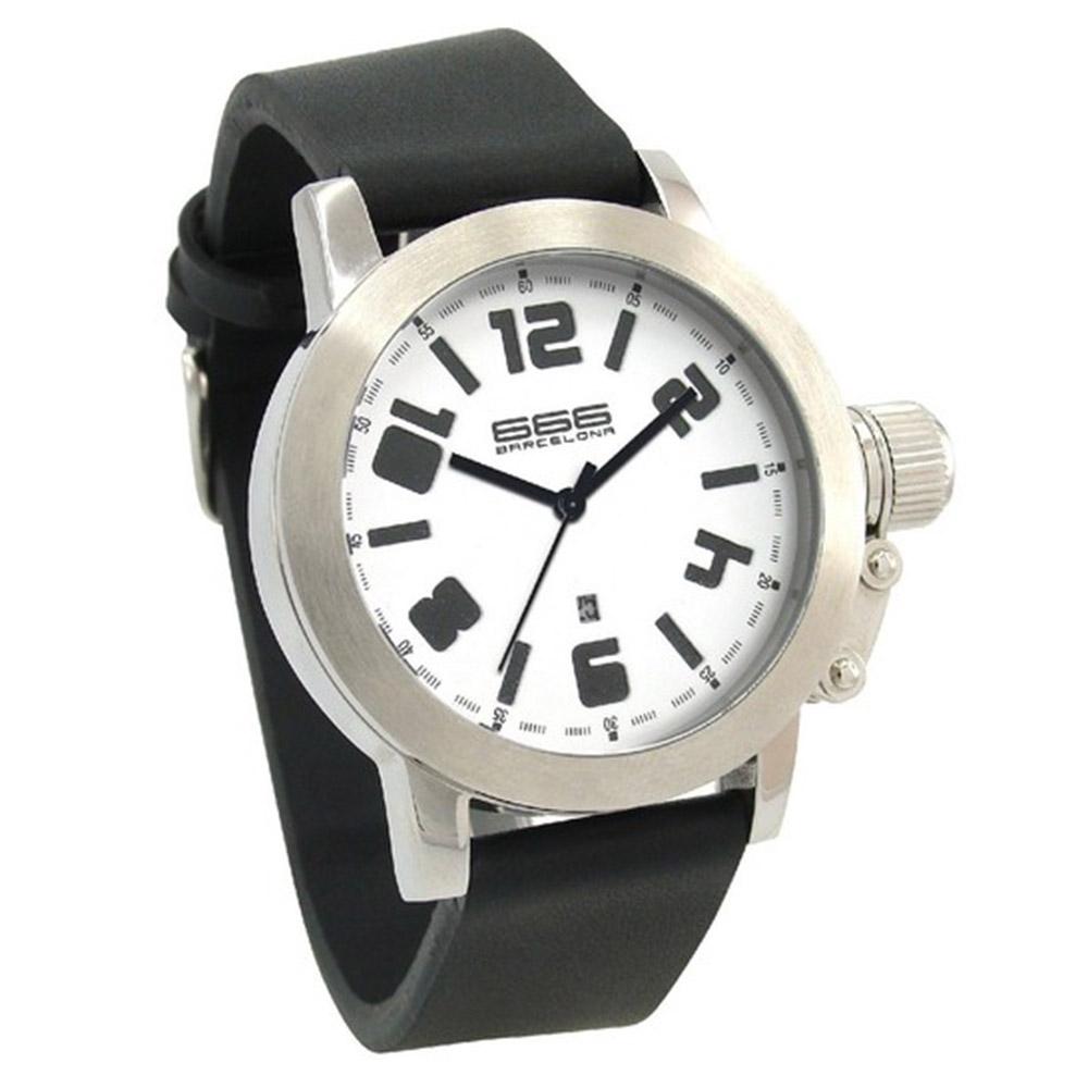 Reloj analógico caucho hombre - negro/blanco