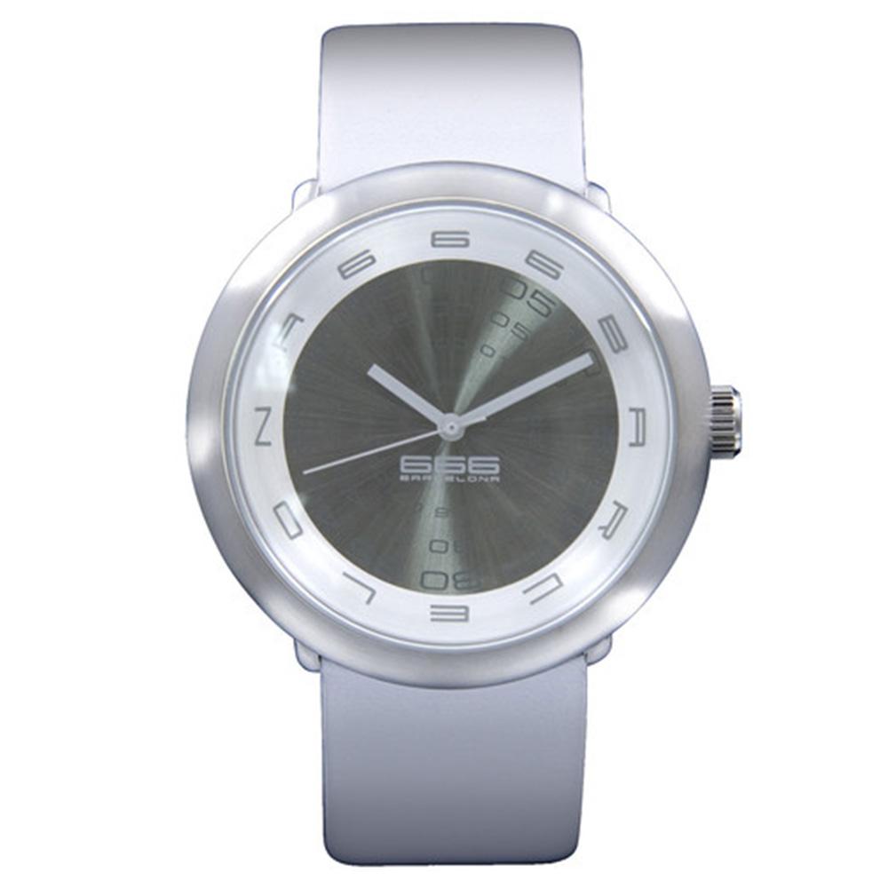 Reloj analógico hombre piel - blanco/gris