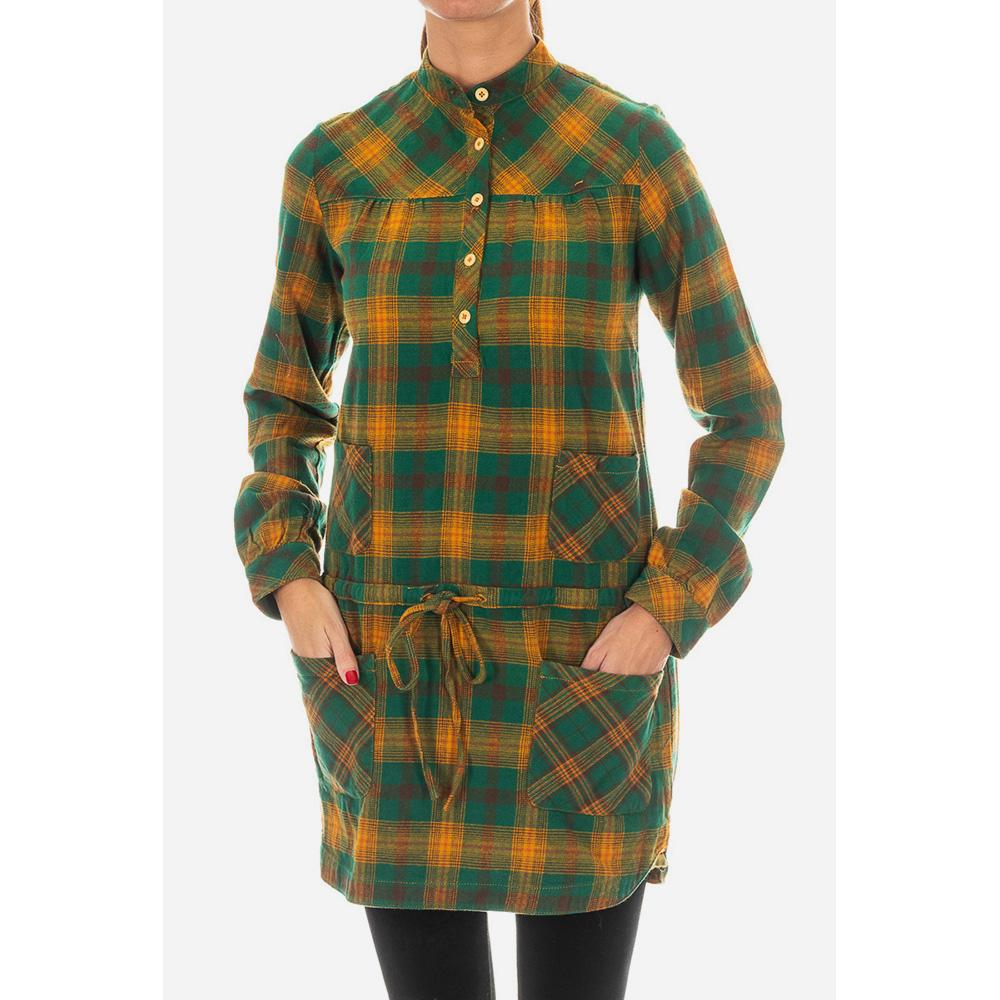 Vestido camisero mujer - verde/marrón