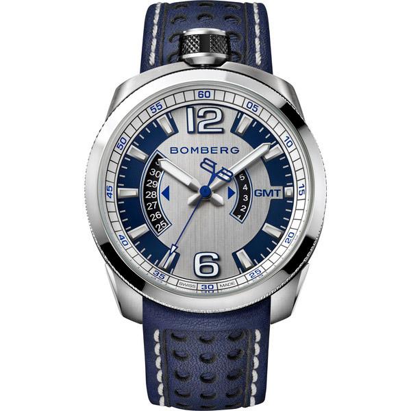 Reloj analógico acero/piel hombre - plateado/azul
