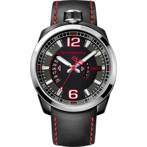 Reloj analógico acero/piel hombre - negro/rojo