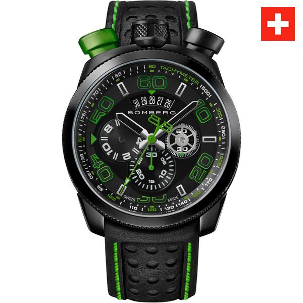 Reloj hombre cronógrafo acero/piel - negro/verde