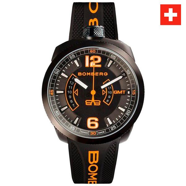 Reloj hombre analógico acero/silicona - negro/naranja