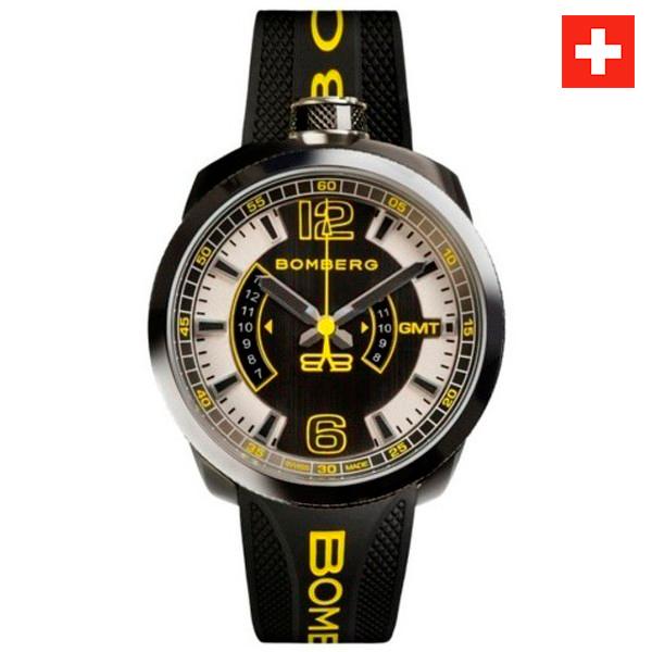 Reloj hombre analógico acero/silicona - negro/amarillo