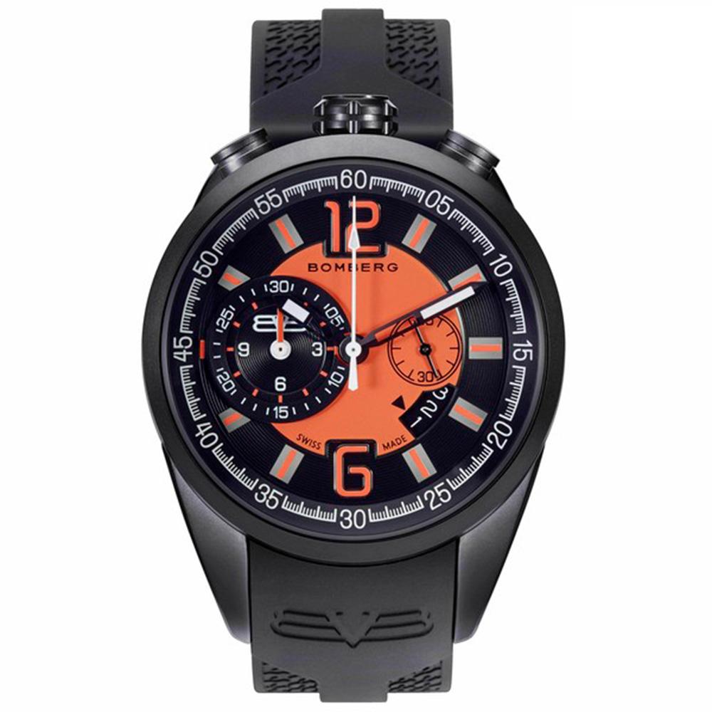 Reloj analógico silicona hombre - negro/naranja