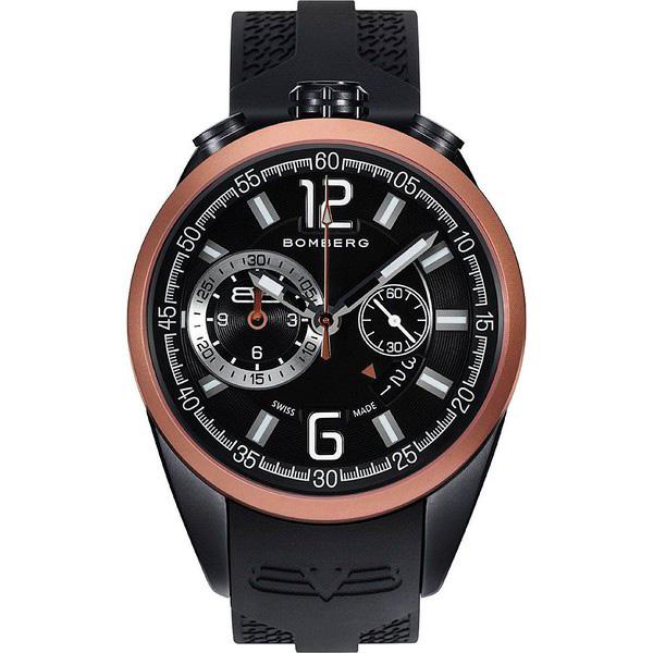 Reloj hombre cronógrafo acero/silicona - negro